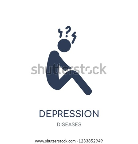 Depression icon. Depression filled symbol design from Diseases collection. Simple element vector illustration on white background