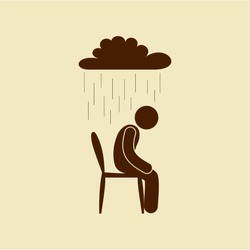 depression icon pictogram isolated, man sitting on a chair sad over him cloud and it's raining