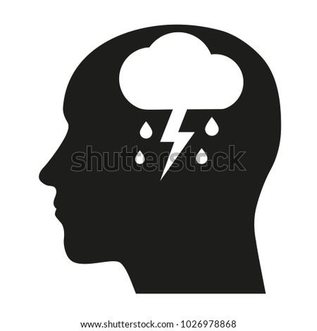 Depression mental disease icon. Stock Vector illustration of a human profile with a raining cloud on a brain's place.