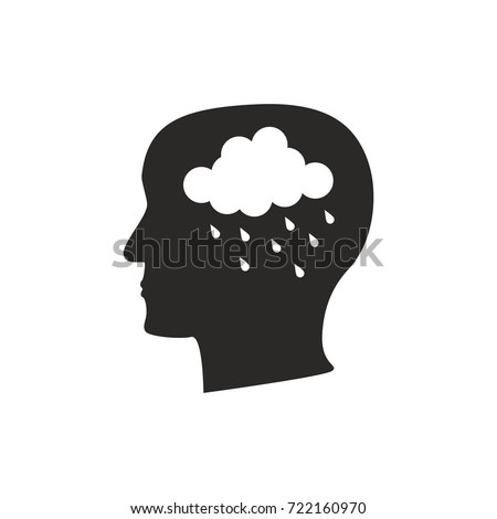 Depression mental disease icon. Stock vector illustration of a human profile with a raining cloud on brain's place.