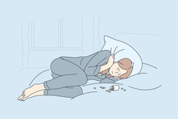 Depression, overdose, frustration, addiction concept. Depressed unhappy frustrated young woman lying on bed with opened bottle of pills. Suffering from insomnia or mental stress psychological problem.