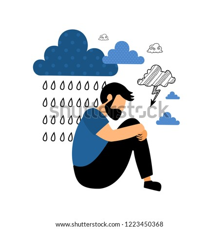 Depression. Sad unhappy young man sitting under rain cloud. Flat vector illustration.