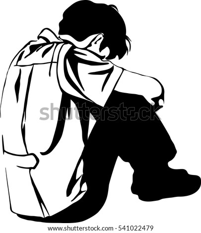 Vector Images Illustrations And Cliparts Depression Sadness Loneliness Jobless Unemployment Vector Illustration Businessman Sad Silhouette Worried Silhouette Of Very Sad Man Sitting Alone On White Background Depressed Young Man Sitting Hqvectors Com