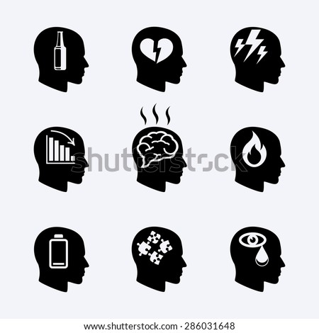Depression, stress concept or mental health icons set. Load desperate, emotional desperation, pressure and stressful, symbol trouble and sadness. Vector illustration