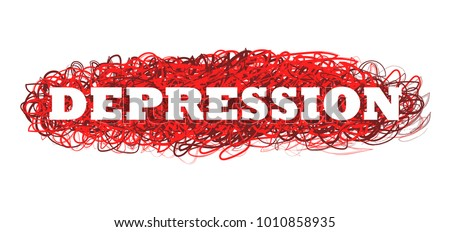 Depression word, psychology, adult, miserable, depressed vector illustration poster, isolated on white. A state of low mood that can affect a person's thoughts, behavior, feelings. A depressed mood.