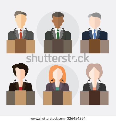Shutterstock Deputies at the microphone. The President, Congressman, member of the Board. Vector illustration