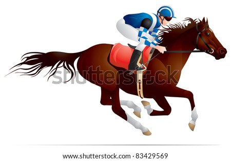 Derby, Equestrian sport horse and rider in vector variant 3, Thoroughbred horse, gambling, The Sport of Kings - stock vector