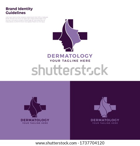 Dermatology - Dermatologically tested logo. Dermatology test tag for sensitive skin of kid cosmetic lotion or skincare and body care pure prod Zdjęcia stock ©