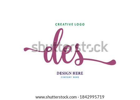 DES lettering logo is simple, easy to understand and authoritative Stock fotó ©