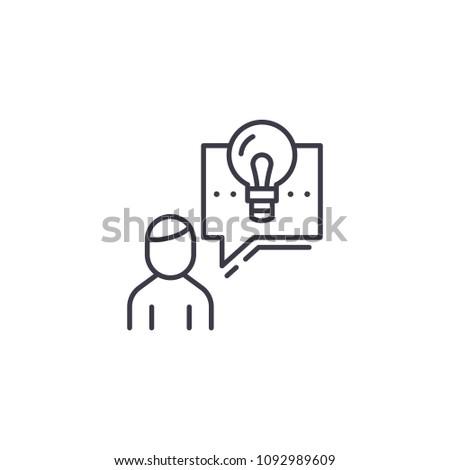 Describing a project linear icon concept. Describing a project line vector sign, symbol, illustration.