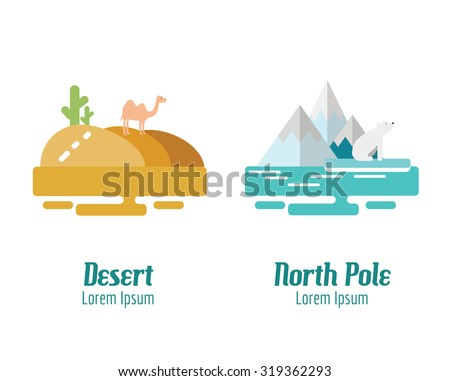 desert and north pole landscape