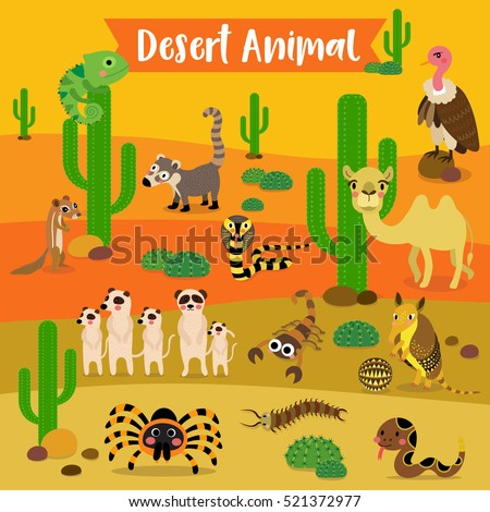 desert animals cartoon with