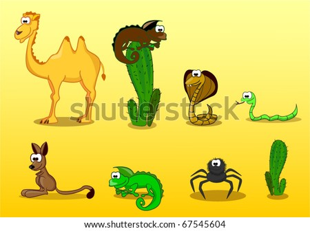 desert animals including  camel, lizard, spider, coney, cactus, snake, cobra