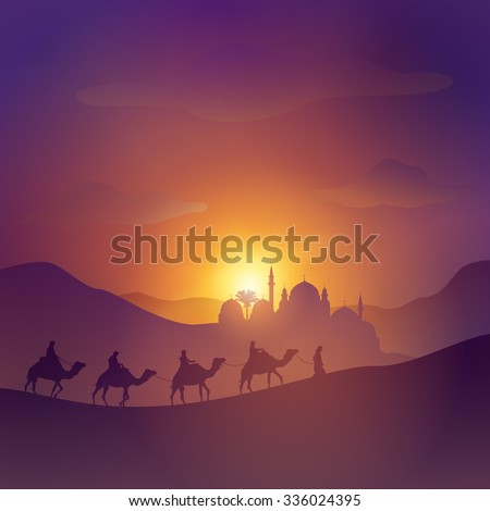 desert arabic landscape with