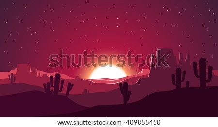 desert at sunset illustration