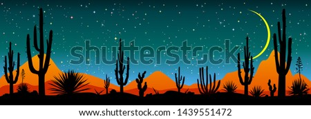 Desert, cacti, stars night. Starry night over the Mexican desert. Silhouettes of stones, cacti and plants. Desert landscape with cacti. Stony desert.