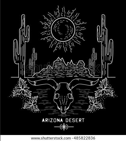 Desert cactus at sunset Arizona - vector illustration.Black and white