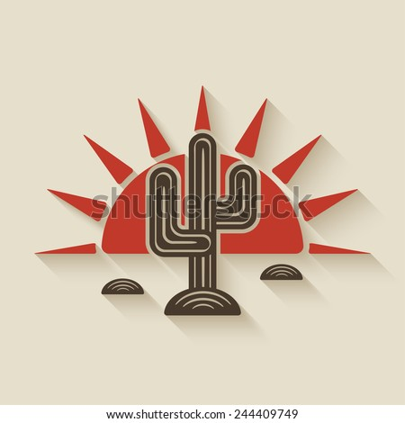 Desert cactus at sunset - vector illustration. eps 10