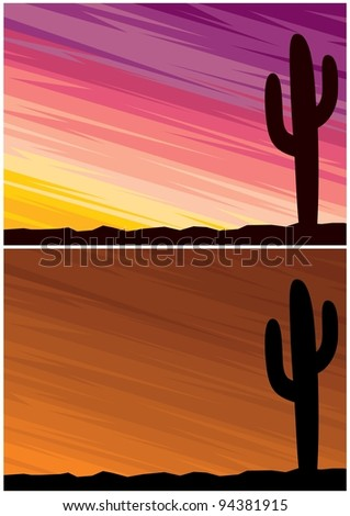 Desert Cactus: Cartoon landscape of a desert at dusk. 2 color variations. A4 proportions. No transparency and gradients used.