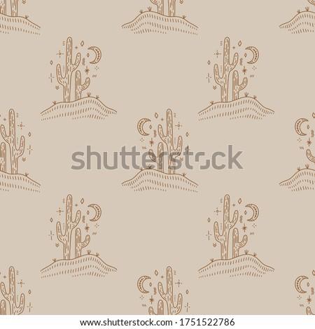 Desert cactus. Navajo ethnic concept. Harmony and zen. Crescent moon and cacti. Vector seamless pattern.