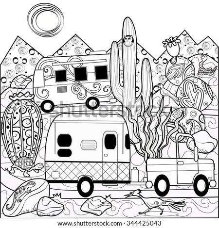 Stock Photo Desert Camper Scene Coloring Doodle Page
