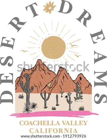 Desert Dreams slogan and desert view print.