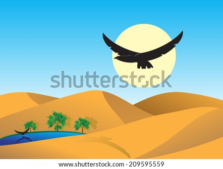 desert. Dunes to deserts, the lake with palm trees and two eagles.