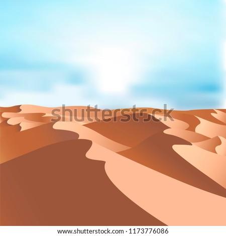 Desert dunes vector landscape background. Sand in nature illustration
