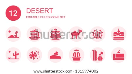 desert icon set collection of