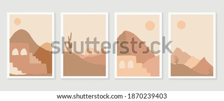 Desert illustration minimal wall arts design vector.  Collection of mountain and landscape of oasis town desert sand and giant saguaro cactus sunset hand drawn digital arts for print and wallpaper. Foto stock ©
