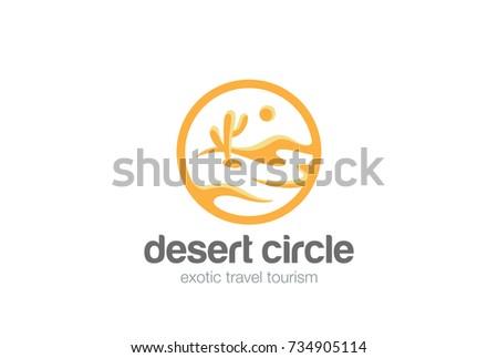 Desert Landscape Logo circle shape design vector template. Travel Tourism agency Logotype concept icon.