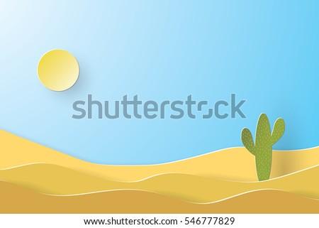 desert landscape  paper art