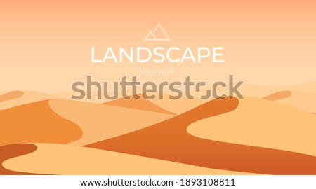 Desert landscape. Sand dunes. Nature background. Vector illustration Сток-фото ©