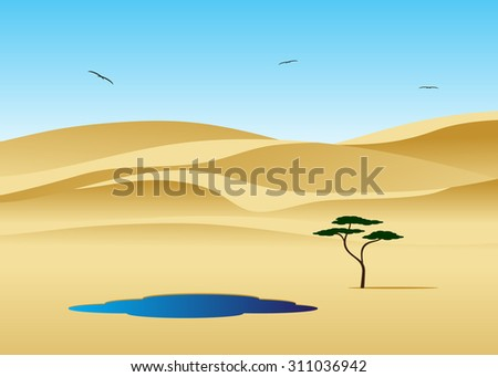Desert landscape, tree and pool