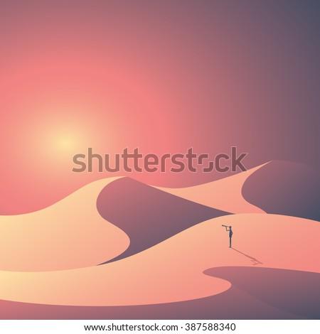 Desert landscape vector background. Natural sand dunes in sunset wallpaper with explorer. Eps10 vector illustration.