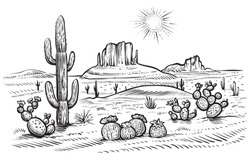 Desert landscape vector illustration. Hand drawn black and white line desert with saguaro and opuntia blooming cactus.