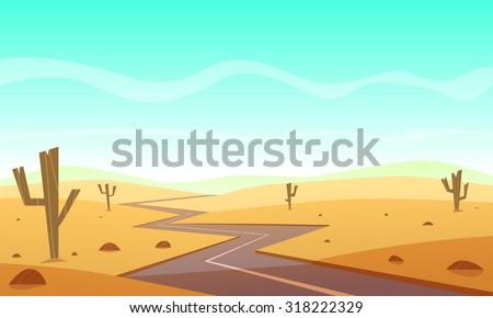 Desert landscape with asphalt road, cartoon vector illustration.