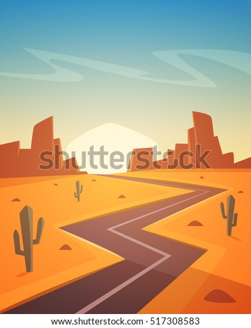 stock vector desert landscape with asphalt road cartoon vector illustration 517308583 - Каталог — Фотообои «Для детской»
