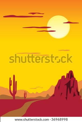 Desert landscape with cactus - stock vector