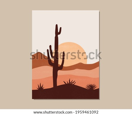 Desert landscape with cactus, hills and mountains silhouettes. Sunset in the Mexican desert. Silhouettes of cacti and plants. Desert landscape with cactuses.