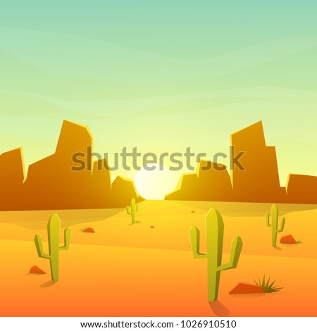 desert landscape with cactus on