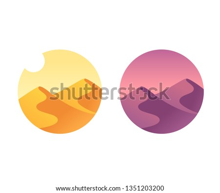 Desert landscape with sand dunes at sunrise and sunset. Simple scene during day and twilight. Vector illustration.