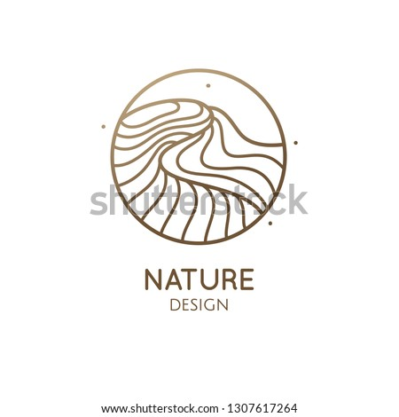 Desert logo template. Vector linear round icon of water or desert landscape with barkhan. Minimal abstract emblem for business emblem, badge for a travel, tourism, ecology concept, health, yoga Center