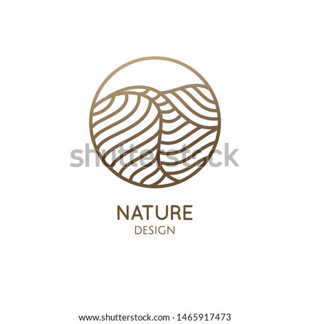 Desert logo template. Vector round icon of water or desert landscape with barkhans. Abstract ornamental emblem for business emblem, badge for travel, tourism and ecology concepts, health, yoga Center