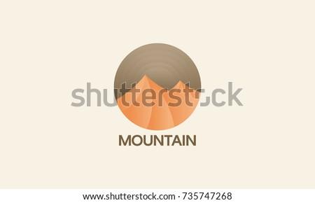 desert mountain logo badge ...