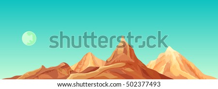 desert mountains and moon