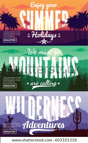 Desert, mountains and summer adventures horizontal banners set