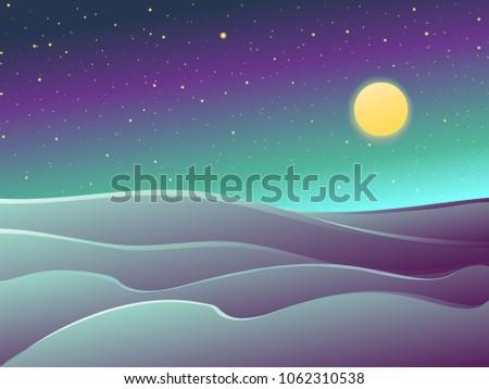 desert night landscape   dunes