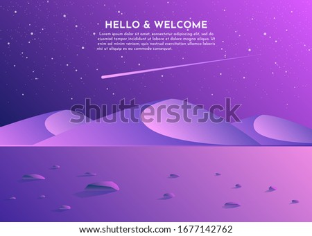 Desert night on dark background. Adventure travel. Desert sunset. Mountain valley landscape. Desert dunes. Scenic travel background. Mountain night sky. Abstract landscape image. Minimalistic design