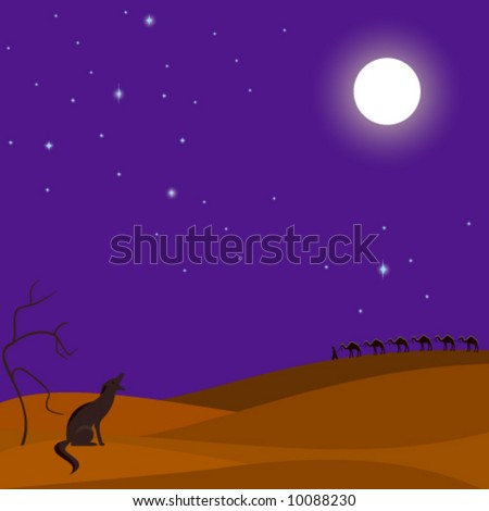 Desert night scene with camel caravan in background, a coyote howling ...